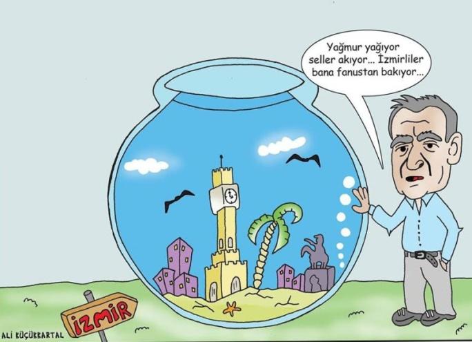İZMİR'İN SU BASKINI SORUNUNA 'FANUSLU' ÇÖZÜM SOSYAL MEDYADA PAYLAŞILAN İZMİR KARİKATÜRÜ OLAY OLDU