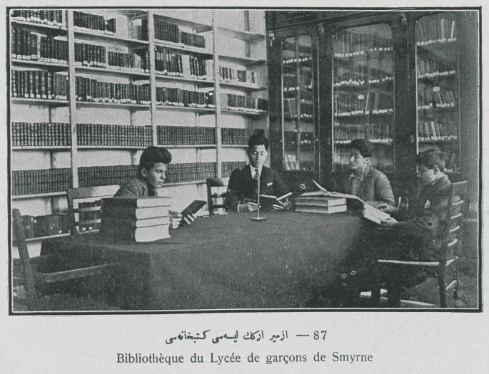Maarif Vekaleti_nin (Milli Eğitim Bakanlığı) 1928 tarihli albümünden İzmir Erkek Lisesi Kütüphanesi