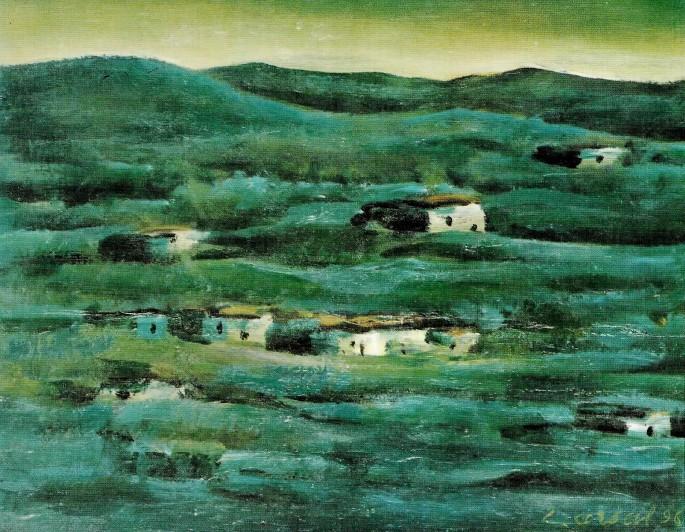 09 Cengiz Arsal, Peyzaj, 36x29 cm, Duralit Üzerine Yağlıboya (1996)