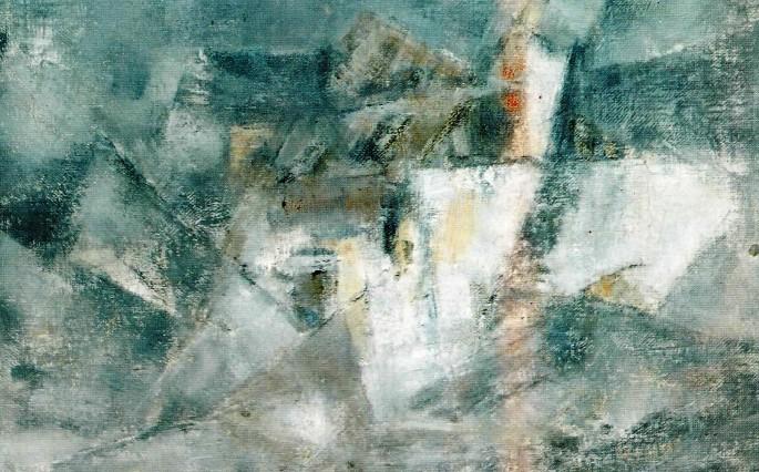 28 Şeref Bigalı, Gri Kompozisyon, 66x100 cm, Çuval Üzerine Yağlıboya (1968)