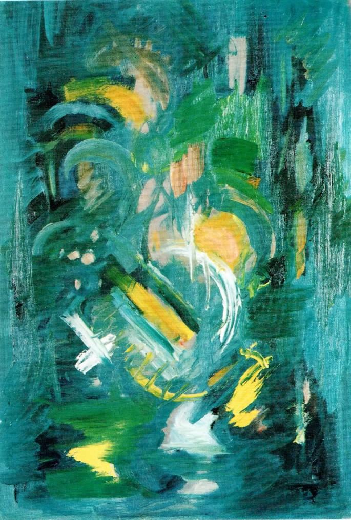 36 Nurettin Ergüven, Yeşilli Kompozisyon, 41x60 cm, Duralit Üzerine Yağlıboya