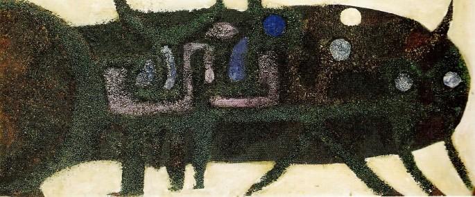 40 Bedri Rahmi Eyüboğlu, Balık, 69x28 cm, Duralit Üzeri Karışık Teknik (1966)