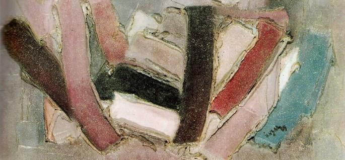 53 Ünsal Toker, Eflatun Kompozisyon, 26x53 cm, Polyester Üzerine Yağlıboya