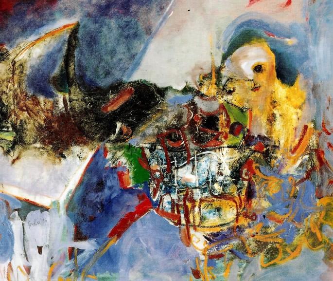 55 Feriha Tuğran, Biz Ressamlar Kuzgun Kunduzlar, 90x80 cm, Tuval Üzerine Yağlıboya (1996)