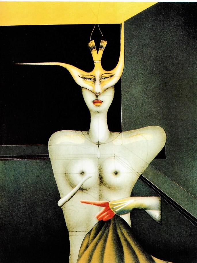 59 Paul Wunderlich, Maskeli Figür, 63x48 cm, Özgün Baskı (1991)