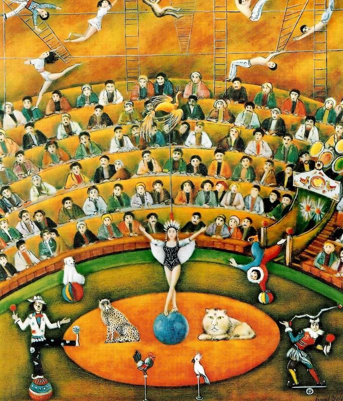 61 İsmail Yalçın, Sirk, 65x55 cm, Tuval Üzerine Yağlıboya (1997)