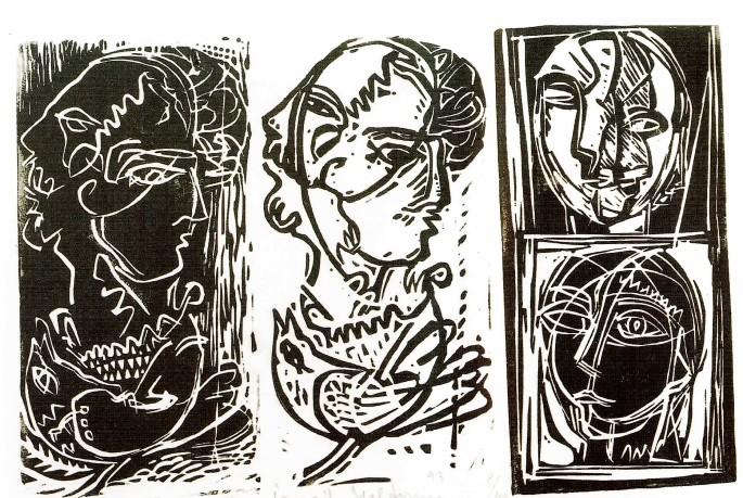 64 İsmail Yıldırım, Siyah-Beyaz Kompozisyon, 50x40 cm, Özgün Baskı (1993)