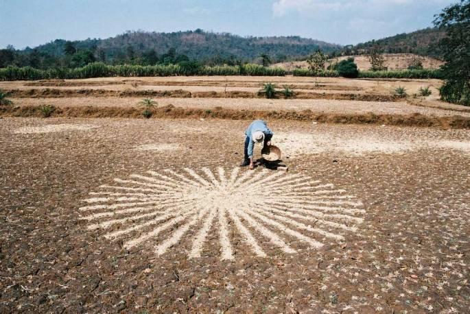 42 Making Paddy-Field Chaff Circle Warli Tribal Land Maharastra India 2003