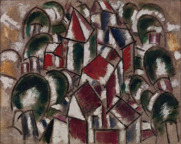 1024px-Fernand_Léger,_1914,_Paysage_No._1_(Le_Village_dans_la_forêt),_oil_on_burlap,_74_x_93_cm,_Albright-Knox_Art_Gallery